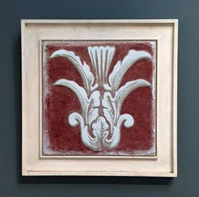 Sgraffito Fresco Framed in Antique Flat White
